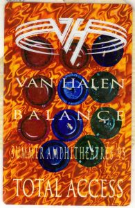 Van Halen Balance Tour Stage Pass